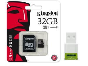 Kingston 32GB microSD 32G MicroSDHC Micro SD HC SDHC Memory Card UHS-1 Class 10 C10 SDC10G2/32GB with USB 2.0 card reader