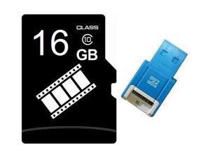 FilmPro 16GB 16G microSD microSDHC micro SD Class 10 C10 Memory Card + USB Reader