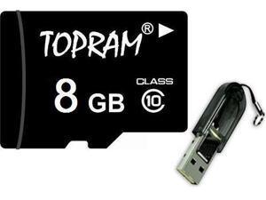 TOPRAM 8GB 8G microSD microSDHC micro SD Class 10 C10 Memory Card + R13 USB Reader