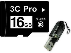 3C Pro 16GB 16G microSD microSDHC micro SD Class 10 C10 Memory Card + R13 USB Reader
