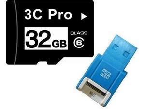 3C Pro 32GB 32G microSD microSDHC micro SD Class 6 C6 Memory Card +R10b Reader
