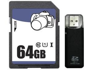 OEM 64GB SD SDHC SDXC Card Class 10 Ultra High Speed UHS-I for Camera & Camcorder R3 Reader