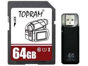 TOPRAM 64GB SD 64G SDHC 64GB SDXC Card Class 10 Ultra High Speed UHS-I for Camera & Camcorder with R3 Reader