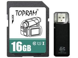 TOPRAM 16GB SD 16G SDHC Card Class 10 Ultra High Speed UHS-I for Camera & Camcorder with R3 Reader