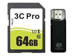 3C Pro 64GB SDXC SDHC SD Card Class 10 Ultra High Speed UHS-I with R3 Reader