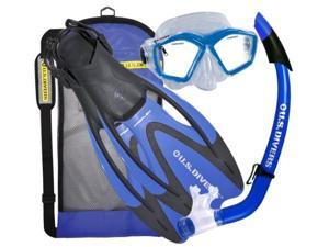 U.S. Divers Adult Mask, Snorkel and Fins Gear Bag in Electric Blue - Large
