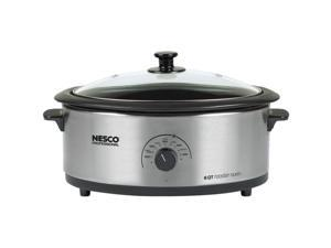NESCO 4816-25PR 6-Quart Porcelain Roaster Oven (Stainless Steel)