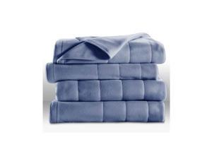 Sunbeam Heated Electric Blanket Quilted Fleece Royal Dreams, King Size, Dusty Blue