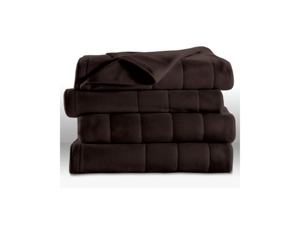 Sunbeam Heated Electric Blanket Quilted Fleece Royal Dreams King Mocha Brown