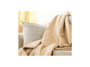 Sunbeam Microplush Electric Heated Throw Blanket Chiffon Beige 8005-045-759