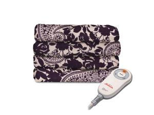 Sunbeam Microplush Electric Heated Throw Blanket Paisley Eggplant