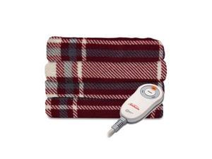 Sunbeam Microplush Electric Heated Throw Blanket in Hamilton Plaid Slate Garnet