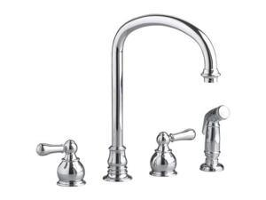 American Standard 4751732.002 Hampton Two Handle Bottom Mount Kitchen Faucet with Sidespray - Polished Chrome