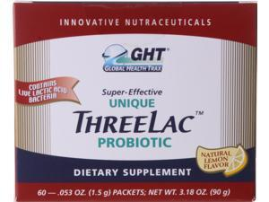 Global Health Trax, ThreeLac Probiotic Natural Lemon 60 Packets