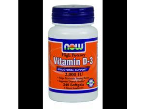 Vitamin D-3 2000 IU - Now Foods - 240 - Softgel