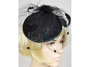 Black Feather Veil Goth Burlesque Pin-Up Lolita Fascinator