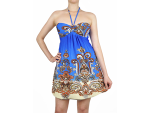 Halter Style Blue Paisley Summer Party Dress