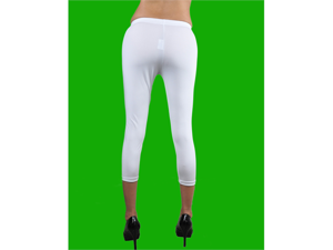 White Shiny Lycra Spandex Capri Leggings