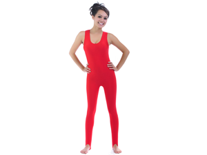 Red Shiny Spandex Sleeveless Unitard Plus Halloween Costume