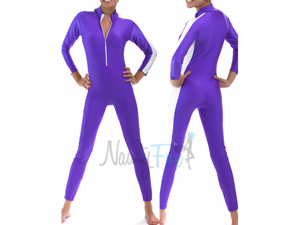 Purple & White Slim-Stripe Zip-Front Unitard