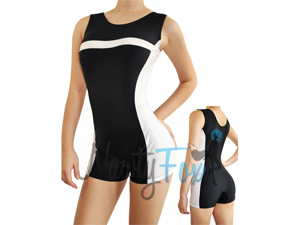 Black & White Striped Gymnastic Lycra Biketard Unitard