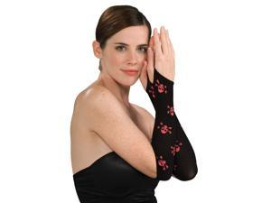 Black Red Skull And Crossbones Fingerless Gloves Arm Warmers
