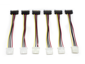 "Aleratec 6"" 4 Pin Molex to 15 Pin SATA Cable Adapter, 6-Pack Combo"