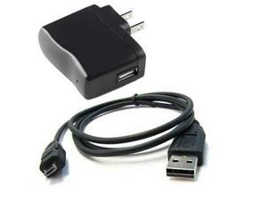 Replacement USB Data Sync Charging Cable and Home wall USB Charger BLACK
