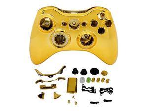 Premium New Golden Glossy wireless controller full case cover+ Shell Parts for xbox 360