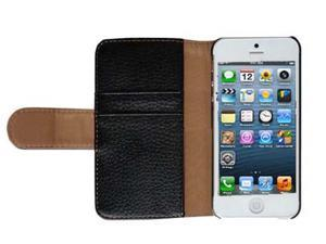 Premium New Wallet Leather Magnetic Flip Case with Card Holder for iphone® 5S / 5  Gen - BLACK