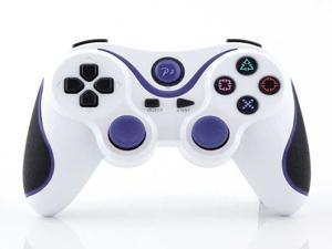 Wireless Bluetooth USB Game Pad Controller For Playstation 3 PS3 (Twin Pack) - White and Blue