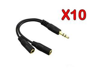 10 Pack - 3.5mm Earphone Headphone Y Splitter Audio Splitting Cable for Music Sharing