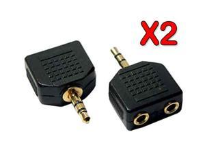 2 X Music Sharing Earphone Headphone Y Splitter 3.5mm Universal Audio Splitting Cable Adapter- Black