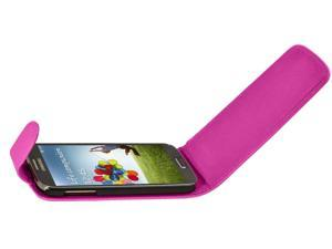 Generic Magnetic Flip Leather Case Compatible with Galaxy S4 i9500 - Hot Pink
