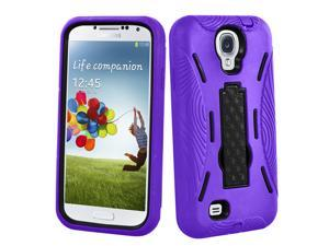 Best Kickstand Hybrid Case Hard Gel Cover with Stand for Samsung Galaxy S4 I9500 IV – Purple & Black
