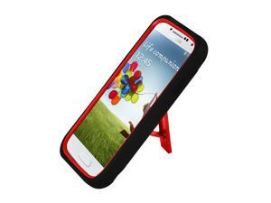 Best Kickstand Hybrid Case Hard Gel Cover with Stand for Samsung Galaxy S4 I9500, IV– Black and Red