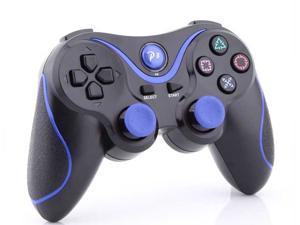 2 X PS3 Sony Playstation 3 PS3 -  Doubleshock 3 Wireless Cordless Bluetooth Game Pad USB Controller - Black w/ Blue Stripe ...