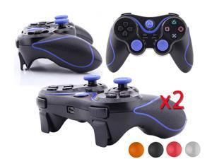 2 X PS3 Best Sony Playstation 3 PS3 -  Doubleshock 3 Wireless Cordless Bluetooth Game Pad USB Controller - Black w/ Blue ...