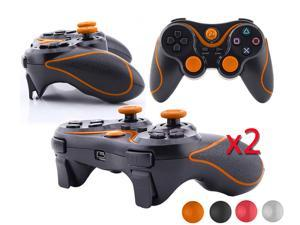 2 X PS3 Best Sony Playstation 3 PS3 -  Wireless Doubleshock 3 Bluetooth Game Pad USB Controller - Black w/ Orange Stripe ...