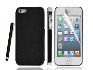 3Pcs = Black Hard Back Case Cover + Screen Guard/Protector + Stylus Pen  Compatible With Aplle iPhone 5®