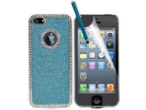 Light Blue-3 in 1 Pack Deluxe Glitter Rhinestone Chrome Frame Hard Cover Case for Apple® iPhone® 5 With Screen Film Protector ...