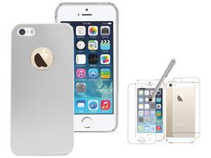 iPhone 5S 5 S / 5 Case Cover - Silver Back Hard Matte Brushed Aluminum Case Cover With Free Screen Protector And Stylus Pen