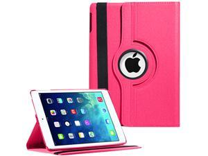 360 Rotating Magnetic Leather PU Case Smart Cover Wake Sleep For iPad Air iPad 5 - Hot Pink