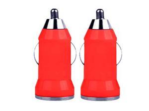 2 Pack Car Charger w/ 1mA USB Charging Port Compatible for Cell Phones Smart Phones (RED)