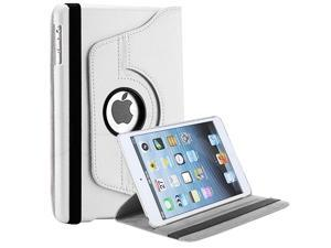 Premium iPad Case, Premium 360 Degree Rotating Luxury Leather Smart Stand Case Cover For Apple iPad Mini (White Leather)
