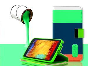 For Samsung Galaxy Note 3 N9000 - Luxury Leather Magnetic Flip Wallet Stand Fashion Case Cover, Green