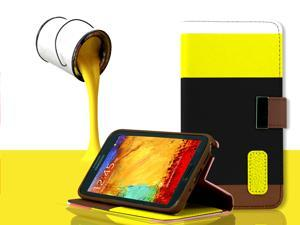 For Samsung Galaxy Note 3 N9000 - Luxury Leather Magnetic Flip Wallet Stand Fashion Case Cover, Yellow