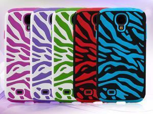 Premium Zebra Pattern Dual Flex Hard & Soft Hybrid Gel Case Cover for Samsung© i9500 Galaxy© S4 - Generic