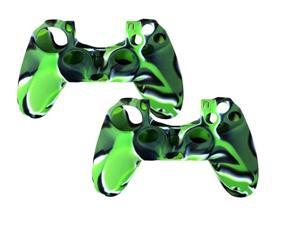 2 Pack For PS4 Sony Playstation 4 Game Controller - Silicone Gel Rubber Camouflage Pattern Skin Case Cover - Green