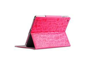 Cover Cases for New Apple iPad Mini - Cartoon Textured Cute Smart Stand Leather Flip Cover Case PINK